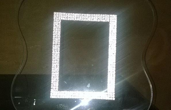 Portafoto in vetro con strass